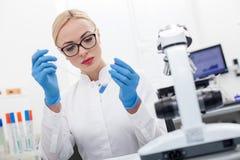 Attraktiver blonder Forscher analysiert Probe Stockfotos
