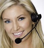 Attraktiver blonder Kundenkontaktcenterrepräsentant Lizenzfreies Stockfoto