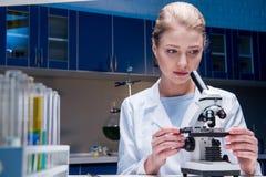Attraktiver blonder Wissenschaftler, der mit Mikroskop im Labor arbeitet Lizenzfreie Stockbilder