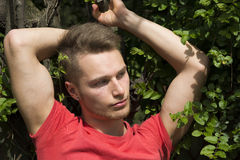Attraktiver junger blonder Mann gegen Wand des grünen Efeus Stockfotografie