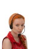 Attraktiver junger Call-Center-Betreiber Stockfoto