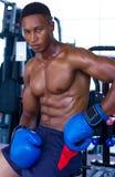 Attraktiver junger männlicher Boxer, der sich hinsetzt Tragende Boxhandschuhe des geeigneten männlichen vorbildlichen Boxers stockfotos