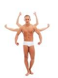 Attraktiver junger Mann, der mit vielen Armen aufwirft Stockbild
