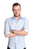 Attraktiver Mann gegen weißen Hintergrund Lizenzfreie Stockfotografie