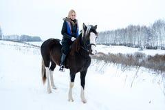 Attraktiver schöner junge Frau Wintering mit einem Pferd auf natur stockfotografie