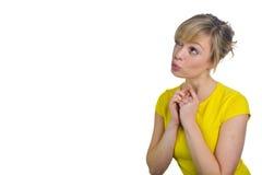 Attraktives blondes Frauen-Denken Lizenzfreies Stockbild