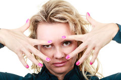 Attraktives blondes Frauenportrait Stockfotos