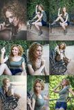 Attraktives blondes Mädchen, das Musik hört Stockfotografie