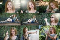Attraktives blondes Mädchen, das Musik hört Stockbild