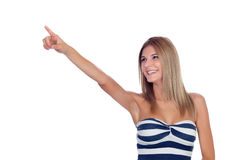 Attraktives blondes Mädchen lokalisiert Stockbild
