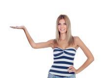 Attraktives blondes Mädchen lokalisiert Stockfotos