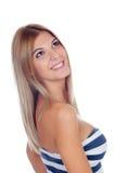 Attraktives blondes Mädchen lokalisiert Lizenzfreie Stockfotografie