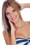 Attraktives blondes Mädchen lokalisiert Lizenzfreies Stockbild