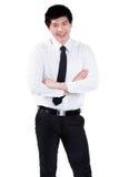Attraktives intelligentes Lächeln des Geschäftsmannes Stockbild