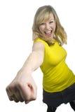 Attraktives junges blondes Frauen-Lochen lizenzfreies stockfoto