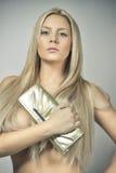 Attraktives junges blondes Mädchen des Zaubers Stockbilder