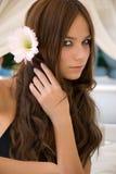 Attraktives junges Mädchen mit Blume Lizenzfreies Stockfoto