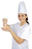 Attraktives Kochfrauen-Einsparunggeld Stockbild
