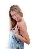 Attraktives Mädchen auf Weiß Stockbild