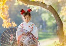 Attraktives Mädchen, das traditionellen japanischen Kimono trägt Stockfotografie