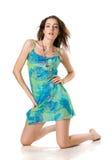 Attraktives Mädchen im blauen Kleid Stockfotos