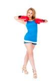 Attraktives Mädchen mit Boxhandschuhen Lizenzfreies Stockfoto