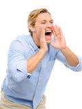 Attraktives Schreien des jungen Mannes lokalisiert auf weißem Hintergrund Stockfotos