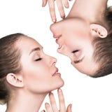 Attraktives weibliches Gesicht mit perfekter Haut Stockbilder
