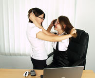 Attraktives zwei Geschäftsfraukämpfen Stockbilder
