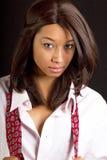 attraktivt brunettkvinnabarn royaltyfri foto