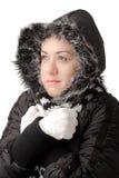 attraktivt kallt meningskvinnabarn fotografering för bildbyråer