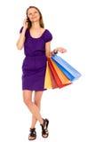 attraktivt shoppingkvinnabarn Royaltyfri Fotografi