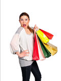 attraktivt shoppingkvinnabarn royaltyfri foto