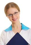 attraktivt sjuksköterskaståendebarn Arkivbilder