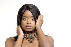 attraktivt svart kvinnabarn fotografering för bildbyråer