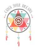 Attrapez votre dreamcatcher tribal de couleur de boho de rêves illustration de vecteur