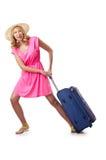 Attrative Frau mit Koffer Stockbild
