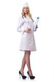 Attrative Frauendoktor auf Weiß lizenzfreie stockfotos
