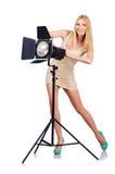 Attrative kvinna i studio Arkivbild