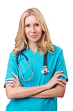 Attrative woman doctor on white Royalty Free Stock Photo