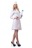 Attrative woman doctor  on white Royalty Free Stock Photos