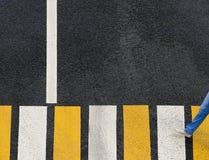 Attraversamento della zebra su una strada asfaltata con il pedone fotografia stock
