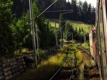 Attraversando through le montagne in treno Fotografia Stock