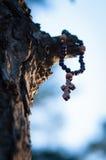 Attraversi nel legno che pende da un albero fotografia stock libera da diritti