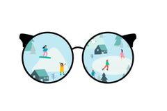 Attraverso i vetri Campagna con le tende nella foresta illustrazione di stock