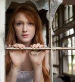 Attraverso una finestra rotta Fotografie Stock Libere da Diritti