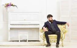 Attrayant et élégant machos sur le visage sérieux et l'expression réfléchie Concept de mode de vie d'élite Homme avec la barbe et Photo stock