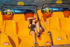 Attrazione dell'acqua, catamarano del taxi Immagine Stock Libera da Diritti
