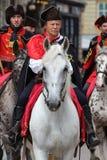 Attrazione turistica di Zagabria/guardia/cavalieri reggimento del foulard Fotografia Stock Libera da Diritti