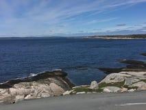 Attrazione turistica rocciosa del paesaggio della baia del ` s di Peggy a Halifax Nova Scotia fotografie stock
